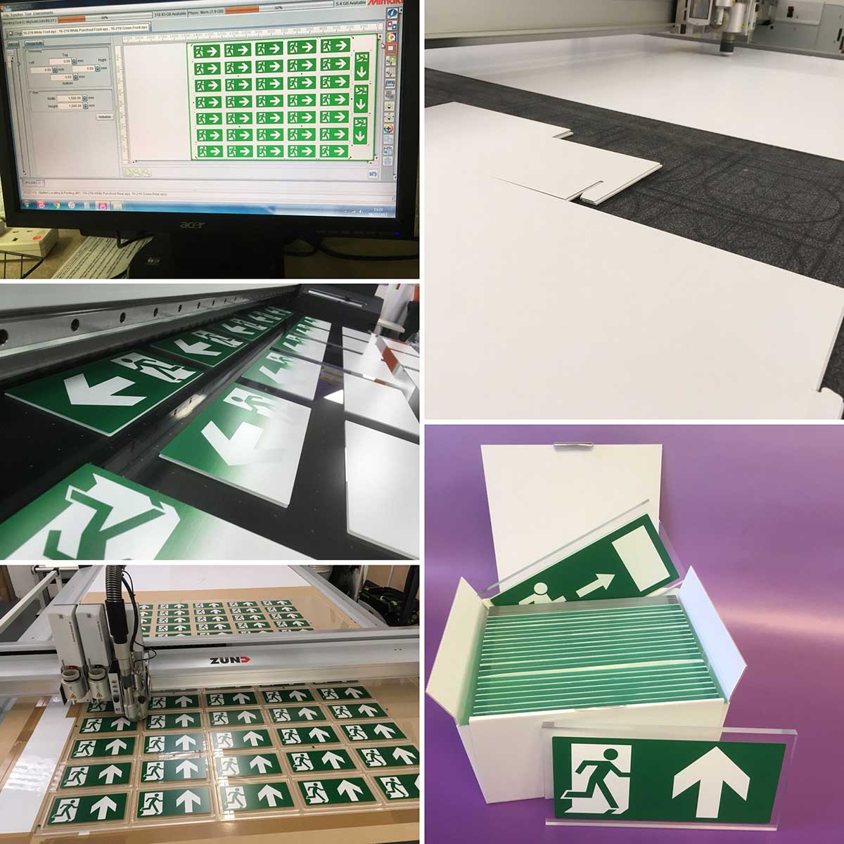 8mm thick Acrylic Fire Exit Signs by the MAP Group