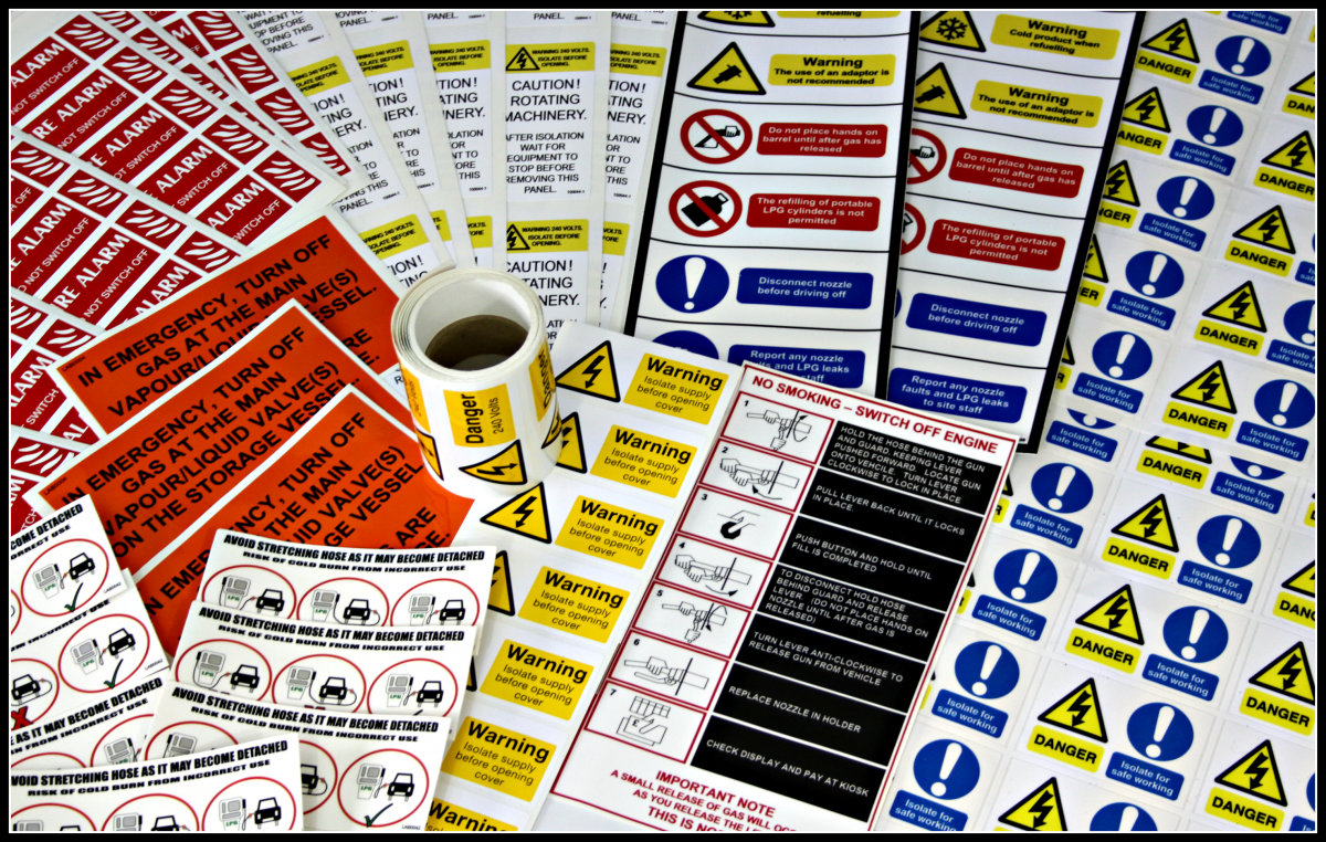warning labels and tags